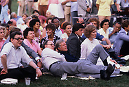 Lane Kirkland, Secretary of Labor Ray Marshall, and Jimmy Carter at a Labor Day picnic on the South Lawn of the White House in September 1980<br /> Photo by Dennis Brack