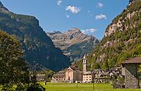 Breathtaking scenic shot of the village of Sonogno, Valle Verzasca, Ticino, Switzerland.
