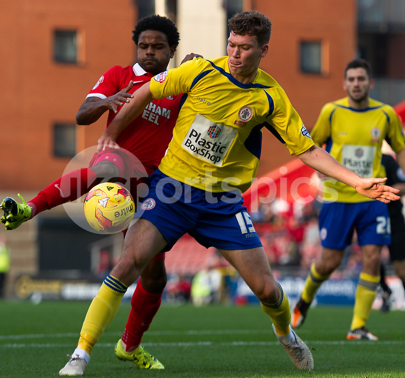 Joe Wright of Accrington Stanley and Bradley Pritchard of Leyton Orient battle for the ball during the Sky Bet League 2 match between Leyton Orient and Accrington Stanley at the Matchroom Stadium, London, England on 31 October 2015. Photo by Vince  Mignott.