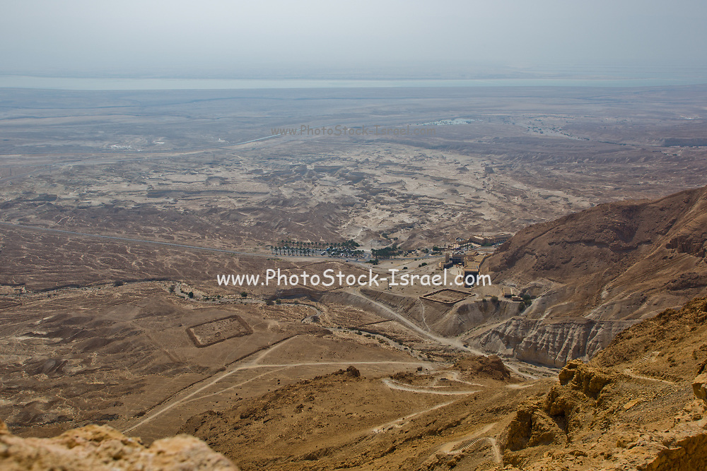 Israel, Masada, Remnants of one of several legionary camps at Masada, just outside the circumvallation wall as seen from above
