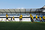 MALMO, SWEDEN - MAY 20: BK Hacken is warming up during the Allsvenskan match between Malmo FF and BK Hacken at Malmo Stadion on May 20, 2018 in Malmo, Sweden. Photo by Lars Dareberg/Ombrello ***BETALBILD***