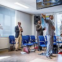 Nederland, Amsterdam, 10 juli 2016.<br /> Zondagochtend kerkdienst in Winners Chapel Zuid Oost.<br /> Living Faith Church Worldwide (ook bekend als Winners Chapel) is een mega-kerk en een christelijk kerkgenootschap opgericht door bisschop David Oyedepo in 1981. (Bron: Wikipedia)<br /> <br /> Netherlands, Amsterdam, July 10, 2016.<br /> Sunday morning church service at Winners Chapel in Zuid Oost. <br /> Living Faith Church Worldwide (also known as Winners Chapel) is a megachurch and a Christian denomination founded by Bishop David Oyedepo in 1981. (Source: Wikpedia)<br /> <br /> Foto: Jean-Pierre Jans