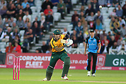 Alex Hales of Nottinghamshire Outlaws cover drives during the Vitality T20 Blast North Group match between Nottinghamshire County Cricket Club and Worcestershire County Cricket Club at Trent Bridge, West Bridgford, United Kingdon on 18 July 2019.