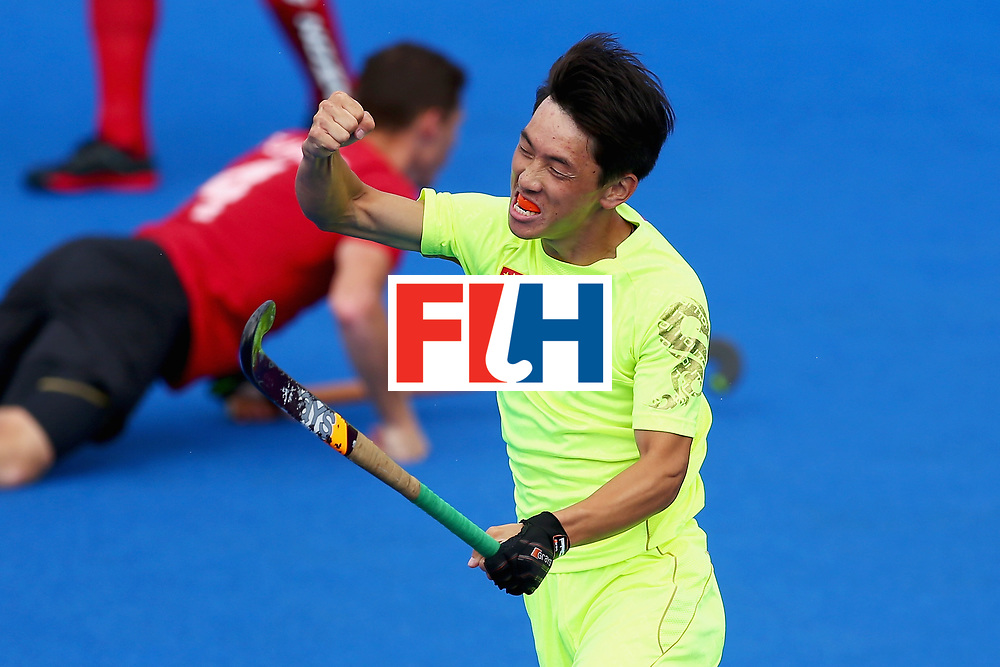 LONDON, ENGLAND - JUNE 24:  Dihao Meng of China celebrates scoring his sides second goal during the 5th-8th place match between Canada and China on day eight of the Hero Hockey World League Semi-Final at Lee Valley Hockey and Tennis Centre on June 24, 2017 in London, England.  (Photo by Steve Bardens/Getty Images)