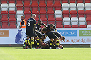 Ollie Palmer scores and celebrates Crawley's goal during the EFL Sky Bet League 2 match between Cheltenham Town and Crawley Town at LCI Rail Stadium, Cheltenham, England on 4 August 2018. Picture by Antony Thompson.