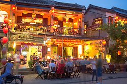 Evening view of tourist restaurant in UNESCO heritage town of Hoian in Vietnam