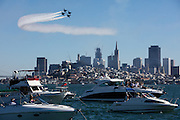Aerial performance by the Blue Angels over San Francisco Bay during Fleet Week 2016