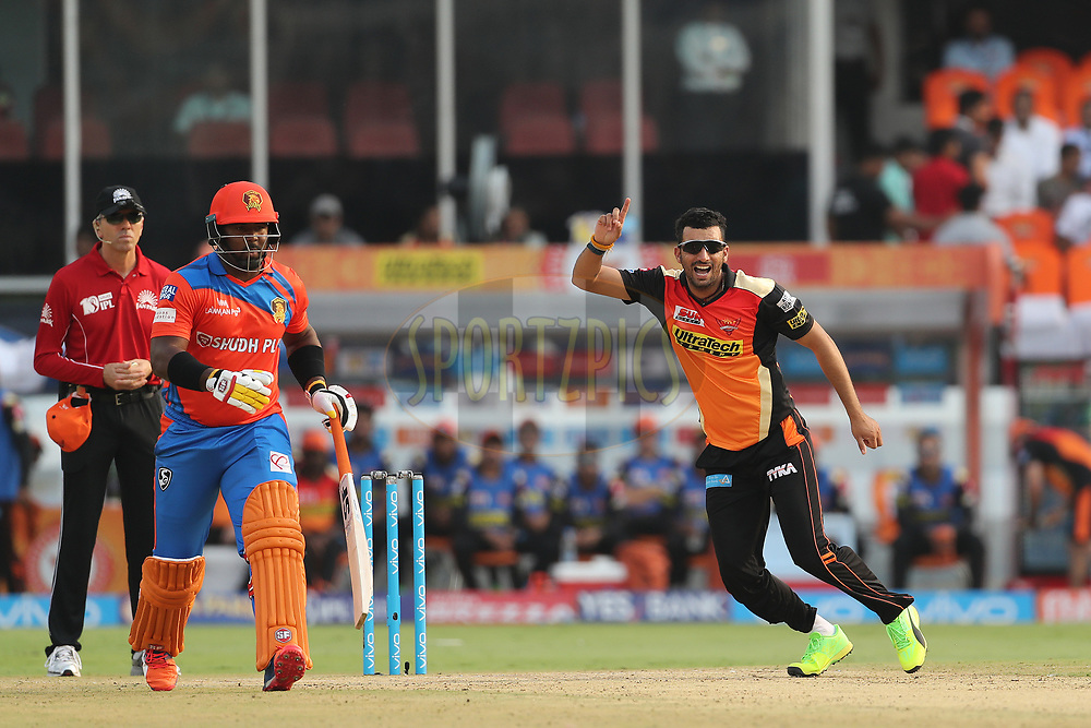 Bipul Sharma of the Sunrisers Hyderabad reacts after a delivery during match 6 of the Vivo 2017 Indian Premier League between the Sunrisers Hyderabad and the Gujarat Lions held at the Rajiv Gandhi International Cricket Stadium in Hyderabad, India on the 9th April 2017<br /> <br /> Photo by Ron Gaunt - IPL - Sportzpics