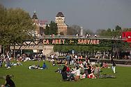 France. Paris 19th district. Parc de la Vilette. cite des sciences garden