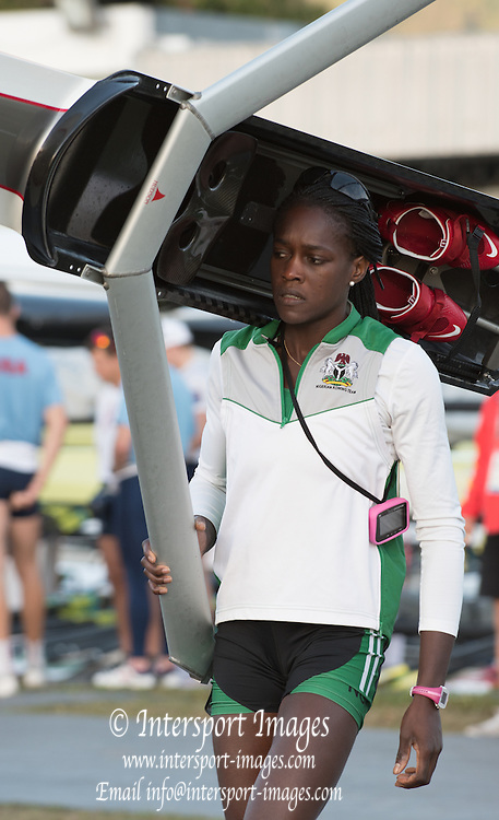 Rio de Janeiro. BRAZIL. NGR W1X. Chierika   UKOGU, 2016 Olympic Rowing Regatta. Lagoa Stadium,<br /> Copacabana,  &ldquo;Olympic Summer Games&rdquo;<br /> Rodrigo de Freitas Lagoon, Lagoa.   Thursday  11/08/2016 <br /> <br /> [Mandatory Credit; Peter SPURRIER/Intersport Images]