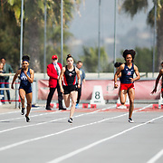 23 March 2018: Callista Fletcher in lane seven competes in the 100 meter dash open event Friday morning at the 40th Annual Aztec Invitational<br /> More game action at sdsuaztecphotos.com