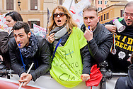 Roma 17 Marzo 2015<br /> Manifestazione dei precari della scuola, 4mila da tutt&rsquo;Italia,davanti a Montecitorio, contro il decreto legge sulla scuola, del governo Renzi, che li esclude dalle assunzioni.<br /> Rome March 17, 2015<br /> Demostration of temporary school, 4 thousand from all over Italy,in front of Deputies, against the education reform package known as 'Good school' set up by Renzi's government, which excludes them from employment.