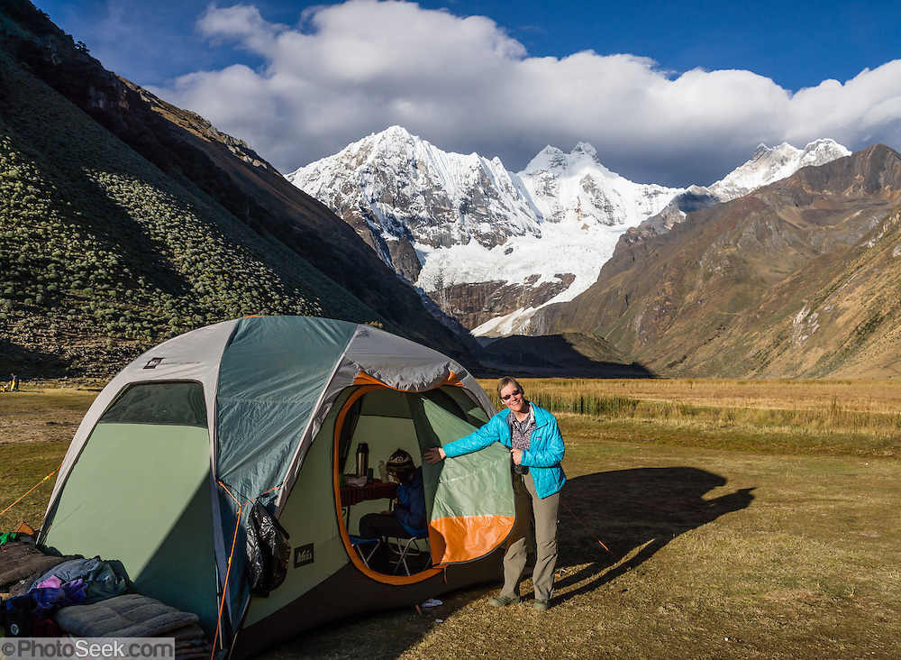 Incahuain campground dining tent under Mount Jirishanca (Icy Beak of the Hummingbird, 6126 m or 20,098 feet), an hour before sunset. Day 8 of 9 days trekking around the Cordillera Huayhuash in the Andes Mountains, one day's walk from LLamac, Peru, South America.