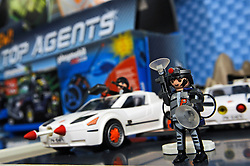 © under license to London News Pictures.  The London Toy Fair opened in Kensington Olympia today with the UK's largest single gathering of the worlds toy manufacturers showing their top merchandise for the year to come all under one roof. Winner of the Best New Toy for the Boys Toys category is this toy range called Top Agents from Playmobil. Also on display amongst the  huge ranges of children's playthings were toys of the 2012 London Olympic Mascots Wenlock and Mandeville along side the new Team GB Mascot which will also be on sale during the London games..Photographer: Lee Durant.Date: 25/01/11