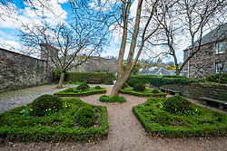 View of Dunbars Garden off Canongate on Royal Mile in Edinburgh, Scotland, UK
