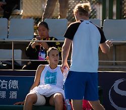 October 3, 2018 - Aryna Sabalenka of Belarus practices at the 2018 China Open WTA Premier Mandatory tennis tournament (Credit Image: © AFP7 via ZUMA Wire)