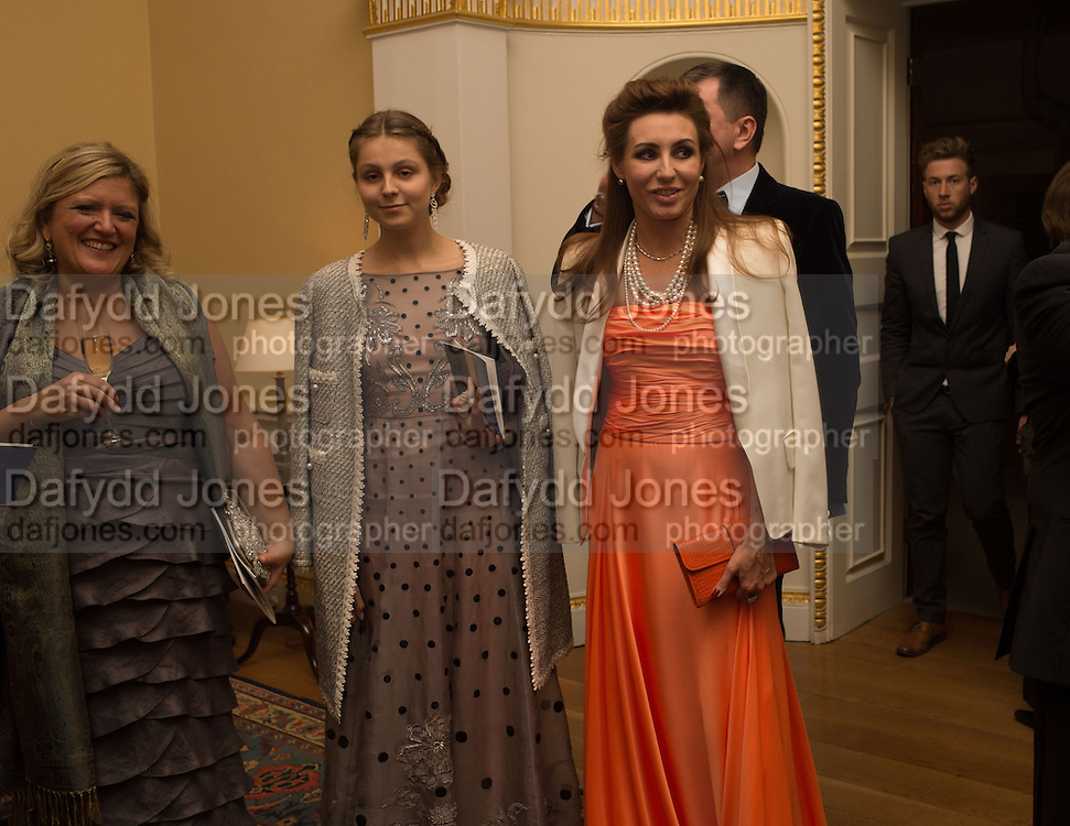 ANNETTE LOFTUS; VALENTINA ARTSINOVICH, GALINA GURINOV, Professor Mikhail Piotrovsky Director of the State Hermitage Museum, St. Petersburg and <br /> Inna Bazhenova Founder of In Artibus and the new owner of the Art Newspaper worldwide<br /> host THE HERMITAGE FOUNDATION GALA BANQUET<br /> GALA DINNER <br /> Spencer House, St. James's Place, London<br /> 15 April 2015