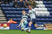Queens Park Rangers defender Jake Bidwell (3) challenges Preston North End Striker Aiden McGeady during the EFL Sky Bet Championship match between Preston North End and Queens Park Rangers at Deepdale, Preston, England on 25 February 2017. Photo by Pete Burns.