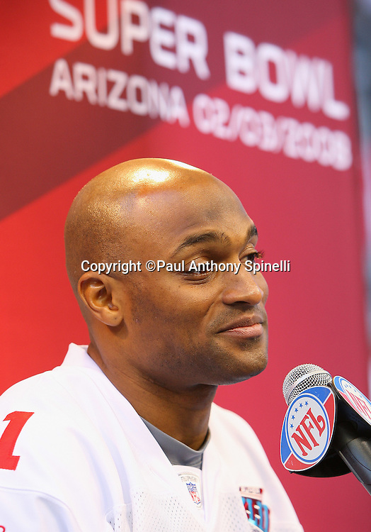 GLENDALE, AZ - JANUARY 29: Wide receiver Amani Toomer #81 of the New York Giants grins as he speaks to the media at the Giants Super Bowl XLII Media Day at University of Phoenix Stadium on January 29, 2008 in Glendale, Arizona.©Paul Anthony Spinelli *** Local Caption *** Amani Toomer