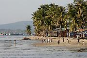 Phu Quoc Island. Duong Dong. Kids playing beach soccer.