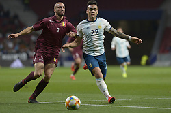 March 22, 2019 - Madrid, Madrid, Spain - Lautaro of Argentina fight the ball with Villanueva of Venezuela during the Friendly football match between Argentina and Venezuela at Wanda Metropolitano Stadium in 22 March 2019, Madrid, Spain, preparatory for the Copa América Brazil 2019 to be played from June 14 to July 7. (Credit Image: © Patricio Realpe/NurPhoto via ZUMA Press)