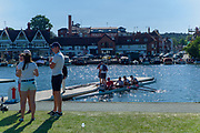 "Henley on Thames, United Kingdom, 29th June 2018, Friday, ""Henley Royal Regatta"", Qualifying races, [Time Trails] over the, Regatta Course, Crew, leaving the pontoon to in the, Boat Tent area, to race, , Henley Reach, River Thames, Thames Valley, England, © Peter SPURRIER, 29/06/2018"