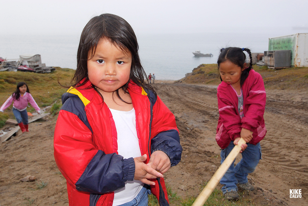 Inuit children. Pond Inlet, Baffin Island. High Arctic. Canada<br /> girl, people, cute,.