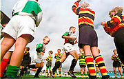 Twickenham, GREAT BRITAIN, Quins run out onto the pitch before the Harlequins vs Sale Sharks, rugby match played at the Stoop ground. England.[Mandatory Credit; Peter Spurrier; Intersport Images]