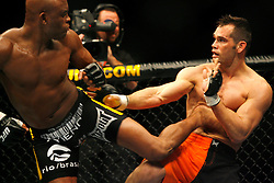 October 20, 2007; CIncinnati, OH, USA;  UFC middleweight champion Anderson Silva (black) and Rich Franklin (orange) face off in their 5 round bout at the US Bank Arena in Cincinnati, OH.  Silva retained his title via 2nd round stoppage due to strikes.