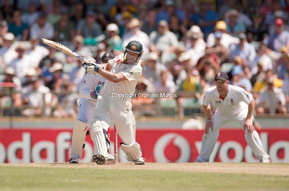 Michael Hussey bats during the third Ashes test match between Australia and England at the WACA (West Australian Cricket Association) ground in Perth, Australia. Photo: Graham Morris (Tel: +44(0)20 8969 4192 Email: sales@cricketpix.com) 18/12/10