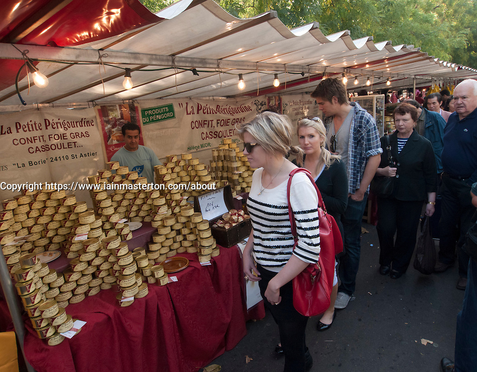 Foie Gras for sale at traditional market at Bastille in Paris France