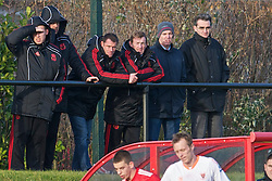 KIRKBY, ENGLAND - Tuesday, November 16, 2010: Liverpool's Jamie Carragher and Kenny Dalglish watch the reserves take on Blackpool during the FA Premiership Reserves League (Northern Division) match at the Kirkby Academy. (Pic by: David Rawcliffe/Propaganda)