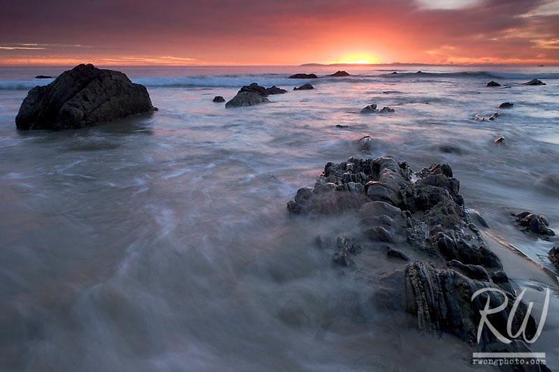 Sunset at Crystal Cove State Park, Laguna Beach, California