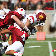 USC Trojan Fullback, Soma Vainuku, advances the ball for a key gain versus the Stanford Cardinals in the 2nd half.  USC prevailed over Stanford 13-10 at Stanford Stadium, Palo Alto, California.   Photo by Barry Markowitz, 12:30pm, 9/06/14