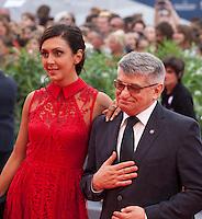 Director Aleksandr Sokurov and Ekaterina Mtsitouridze (left) at the gala screening for the film Francofonia at the 72nd Venice Film Festival, Friday September 4th 2015, Venice Lido, Italy.