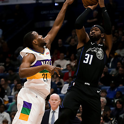Feb 12, 2019; New Orleans, LA, USA; Orlando Magic guard Terrence Ross (31) shoots over New Orleans Pelicans forward Darius Miller (21) during the first quarter at the Smoothie King Center. Mandatory Credit: Derick E. Hingle-USA TODAY Sports