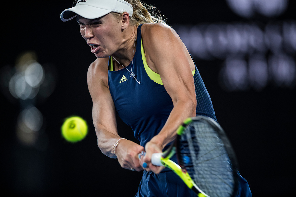 Caroline Wozniacki of Denmark during the women's singles championship match during the 2018 Australian Open on day 13 in Melbourne, Australia on Saturday night January 27, 2018.<br /> (Ben Solomon/Tennis Australia)