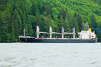 Cargo ship on the Columbia River Washington Oregon border USA.