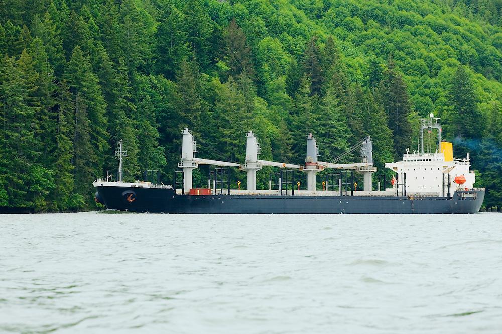 Cargo ship on the Columbia River Washington Oregon border USA.