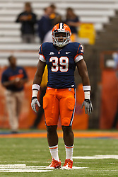 Oct 21, 2011; Syracuse NY, USA;  Syracuse Orange linebacker Dom Anene (39) warms up before the game against the West Virginia Mountaineers at the Carrier Dome.  Syracuse defeated West Virginia 49-23. Mandatory Credit: Jason O. Watson-US PRESSWIRE