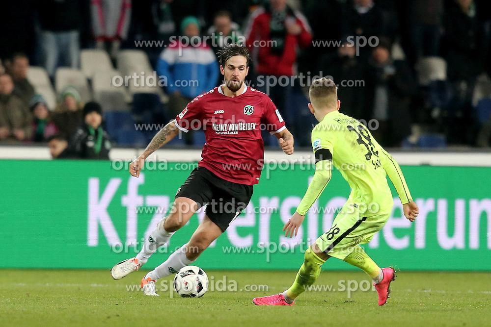 02.12.2016, HDI Arena, Hamburg, GER, 2. FBL, Hannover 96 vs 1. FC Heidenheim, 15. Runde, im Bild Martin Harnik ( Hannover 96 #14 ) Tim Skarke ( 1.FC Heidenheim #38) // during the 2nd German Bundesliga 15th round match between Hannover 96 and 1. FC Heidenheim at the HDI Arena in Hamburg, Germany on 2016/12/02. EXPA Pictures &copy; 2016, PhotoCredit: EXPA/ Eibner-Pressefoto/ Langer<br /> <br /> *****ATTENTION - OUT of GER*****