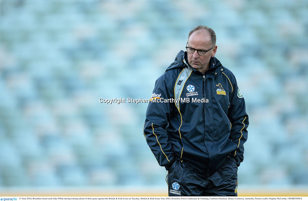 17 June 2013; Brumbies head coach Jake White during training ahead of their game against the British & Irish Lions on Tuesday. British & Irish Lions Tour 2013, Brumbies Press Conference & Training, Canberra Stadium, Bruce, Canberra, Australia. Picture credit: Stephen McCarthy / SPORTSFILE