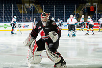 KELOWNA, CANADA - JANUARY 16:  Brodan Salmond #30 of the Moose Jaw Warriors warms up for his first game in Kelowna against his former teammates Kelowna Rockets on January 16, 2019 at Prospera Place in Kelowna, British Columbia, Canada.  (Photo by Marissa Baecker/Shoot the Breeze)