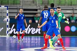 Azdine Aigoun of France celebrates goal during futsal match between France and Azerbaijan at Day 4 of UEFA Futsal EURO 2018, on February 2, 2018 in Arena Stozice, Ljubljana, Slovenia. Photo by Urban Urbanc / Sportida
