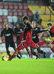 Bristol City U21's Bobby Reid has his penalty saved by Brentford's U21s Richard Lee - Photo mandatory by-line: Dougie Allward/Josephmeredith.com  - Tel: Mobile:07966 386802 04/09/2012 - SPORT - FOOTBALL - Professional Development League -  Bristol  - Ashton Gate -  Bristol City U21s v Brentford U21s
