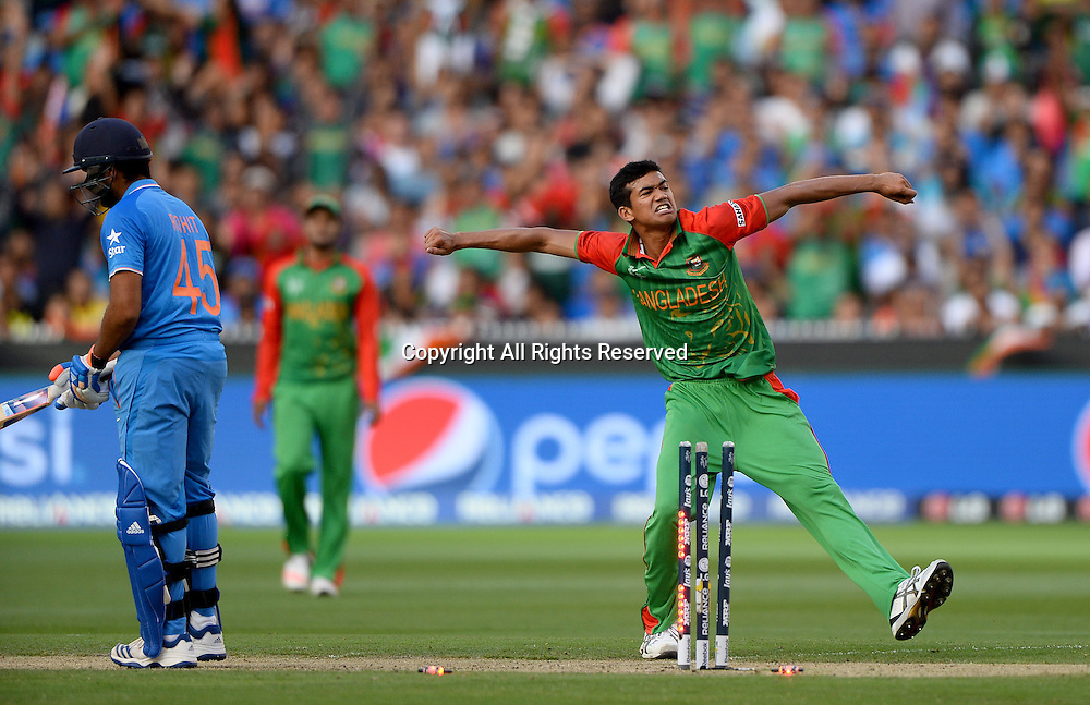 Taskin Ahmed (Bang) celebrates the wicket of R Sharma (Ind)<br /> India vs Bangladesh / Qtr Final 2<br /> 2015 ICC Cricket World Cup<br /> MCG / Melbourne Cricket Ground <br /> Melbourne Victoria Australia<br /> Thursday 19 March 2015<br /> &copy; Sport the library / Jeff Crow