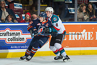 KELOWNA, CANADA - DECEMBER 27: Jack Cowell #8 of the Kelowna Rockets back checks Nick Chyzowski #16 of the Kamloops Blazers on December 27, 2017 at Prospera Place in Kelowna, British Columbia, Canada.  (Photo by Marissa Baecker/Shoot the Breeze)  *** Local Caption ***