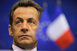Nicolas Sarkozy, president of France, listens during a news conference following the first day of the European Summit, in Brussels, Belgium on Wednesday, Oct. 15, 2008. (Photo © Jock Fistick)