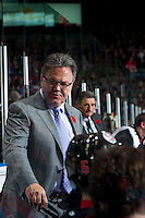KELOWNA, CANADA - NOVEMBER 9: Kelly McCrimmon coach of Team WHL stands on the bench against the Team Russia on November 9, 2015 during game 1 of the Canada Russia Super Series at Prospera Place in Kelowna, British Columbia, Canada.  (Photo by Marissa Baecker/Western Hockey League)  *** Local Caption *** Kelly McCrimmon;