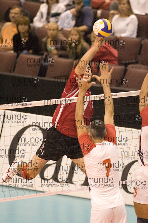 Louis-Pierre Mainville of  Canada Two during a three games to none defeat by Tunisia in the 2006 Anton Furlani Volleyball Cup, held in Ottawa, Canada. .Anton Furlani Cup.Copyright Sean Burges / Mundo Sport Images, 2006